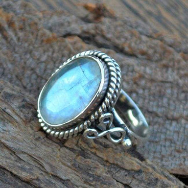 Rings Faceted Rainbow Moonstone Gemstone 925 Sterling Silver Designer Gift Ring