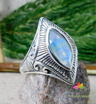 Rings 925 Sterling Silver Gemstone Jewelry Faceted Rainbow Moonstone Ring,