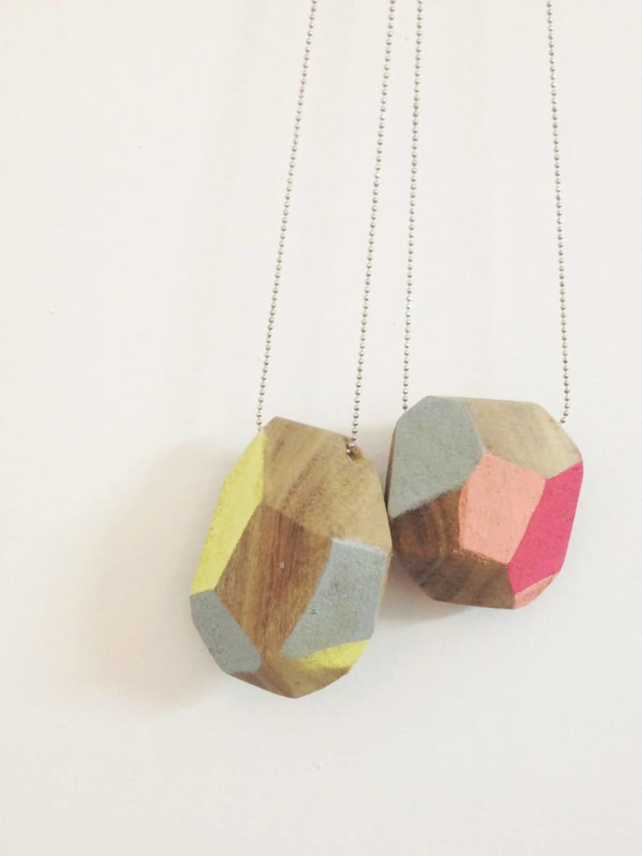 Necklaces Faceted recycling Wood necklace hand painted colorful Geometric september birthday contemporary jewelry mai solorzano wood - Title