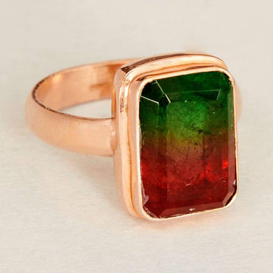 Rings Faceted Watermelon Tourmaline Quartz Gemstone Rose Gold Plated 925 Sterling Silver Ring Fashion Handmade Jewelry Gift - by