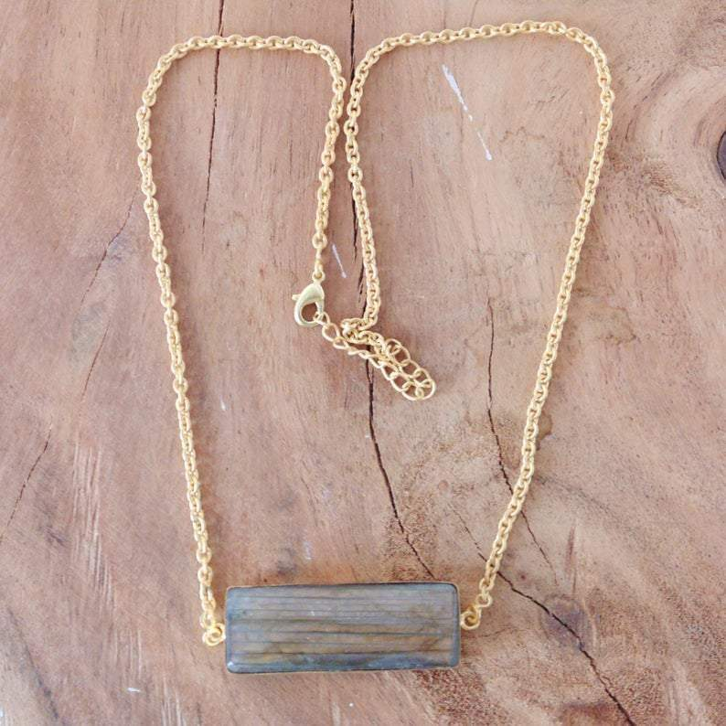 Fashion 18K Gold Plated Natural Labradorite Gemstone Chain Necklace