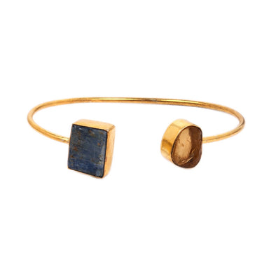 Fashionable 18K Gold Vermeil Blue Kyanite And Citrine Double Stone Stackable Bangle
