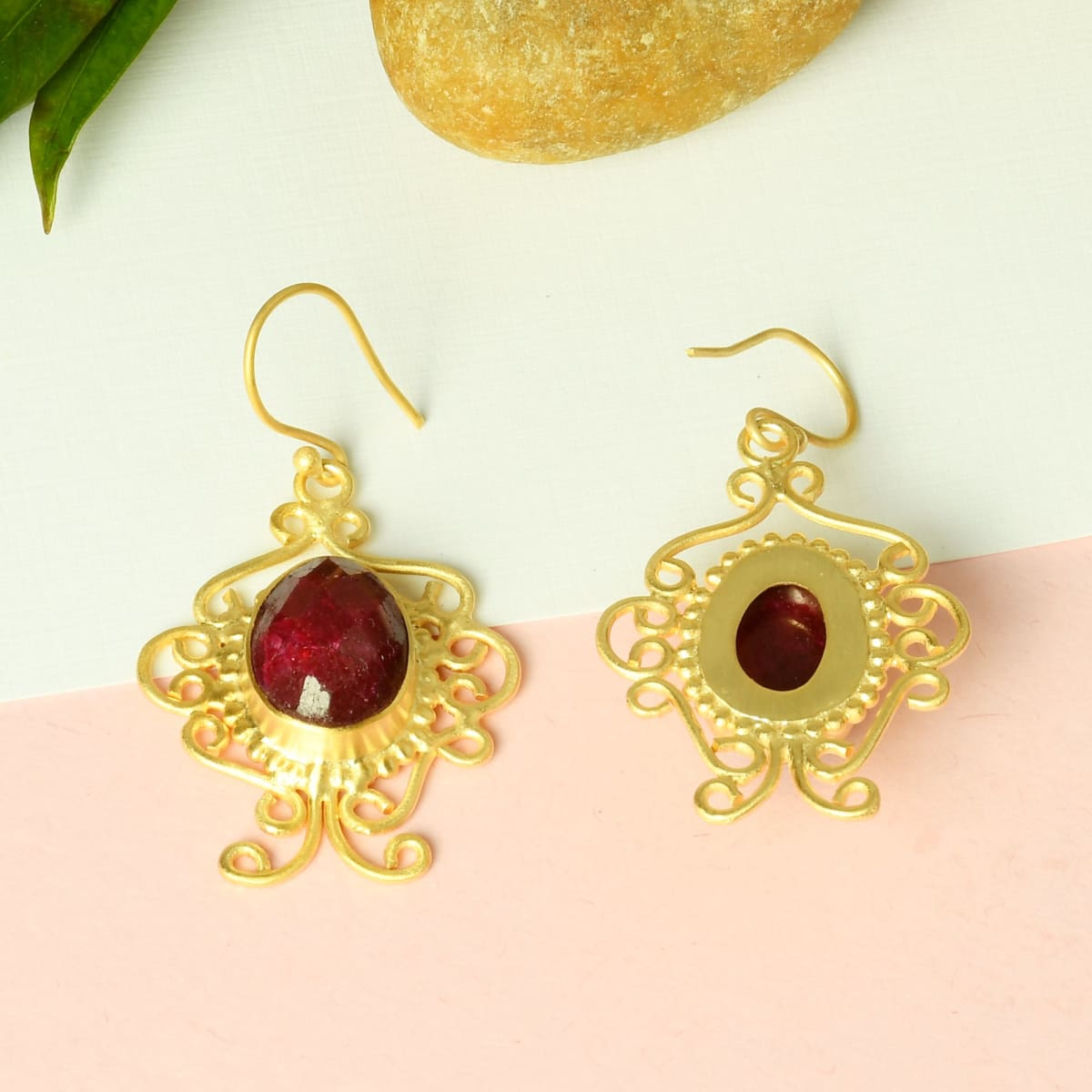 Fashionable Design 18K Gold Vermeil Red Corundum Gemstone Wire Wrap Dangle Earrings - by Bhagat Jewels