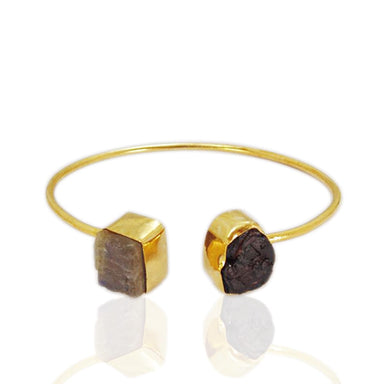 Fashionable Raw Garnet And Labradorite Dual Birthstone Designer Cuff Bangle