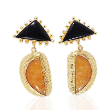 Fashionable Yellow Agate And Black Onyx Gemstone Large Dangle Earrings