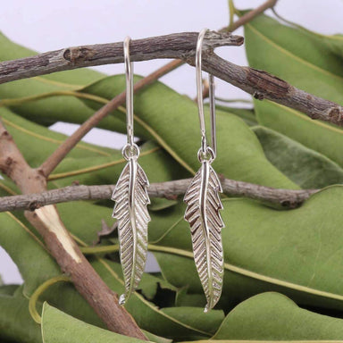 Earrings Feather in Sterling Silver Leaf Handcrafted 925 Solid Earring Dangle Women's Fashion