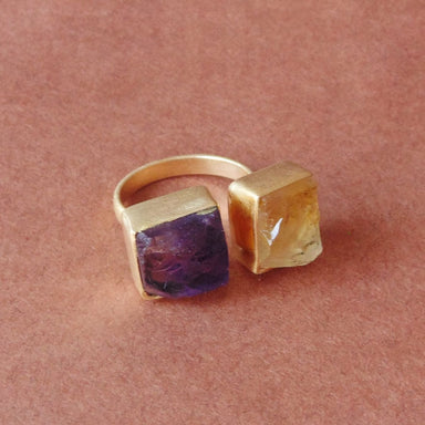 February Birthstone Purple Amethyst And Yellow Citrine Gemstone Unique Birthday Gift Ring - by Bhagat Jewels