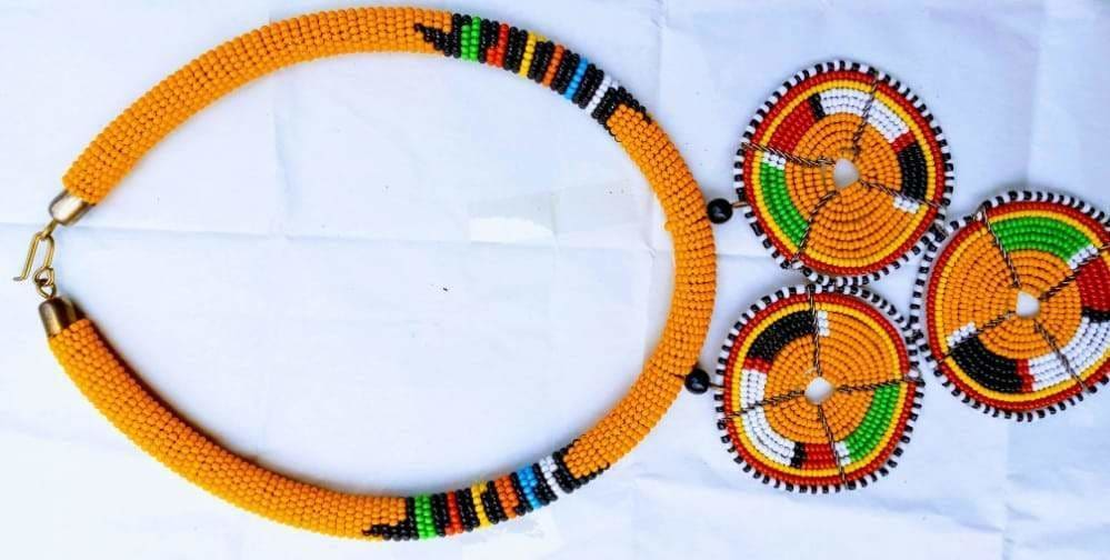 Necklace Fine Beaded Maasai with Pendant Handcrafted African - by NANGIKIS