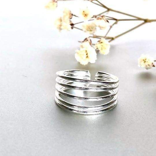 Rings Five Band Silver Toe Ring Bands Simple Minimalist Bohemian TS117
