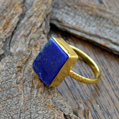 Rings Flat Natural Lapis Lazuli Gold Ring 14k Yellow Wedding Gift