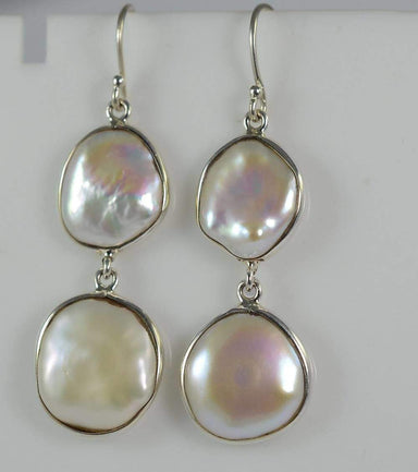 Earrings Freshwater Coin Pearl 925 Solid Sterling Silver Handmade Length 2.5 - by Navya Craft
