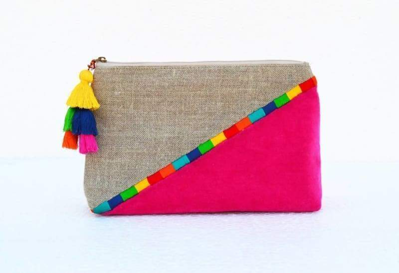 Fuschia Boho pouch colour block linen velvet bag clutch bag embroidered 9X6X3inches - Bags