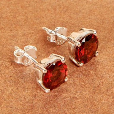 Earrings Garnet Gemstone Earring 925 Sterling Silver Stud Post Fashion Handmade Jewelry Gift - by Adorable Craft