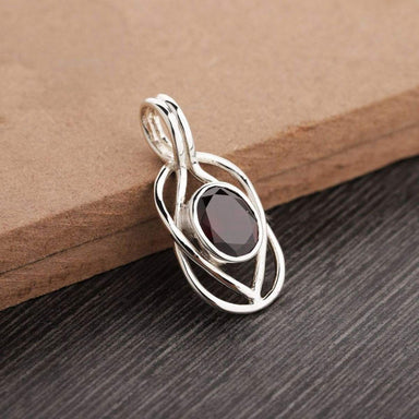 Garnet pendant garnet necklace sterling silver oval drop jewelry 925 January birthstone.