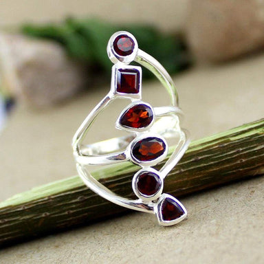 Rings garnet silver ring long sterling