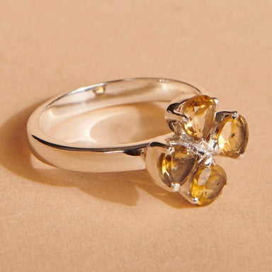 Rings Genuine Citrine Ring 4 Heart-Shaped Solid 925 Silver Gemstone Women's Jewelry Handmade Prong Flower Gift for Her Dainty - by