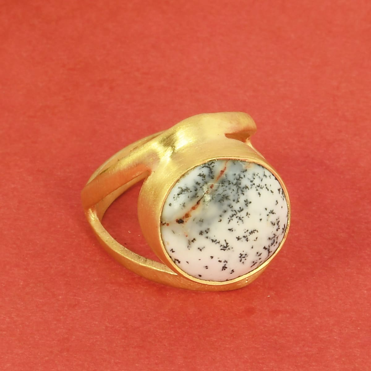 rings Genuine Dendritic Opal Gemstone Bezel Set Women Fashion Ring - by Bhagat Jewels