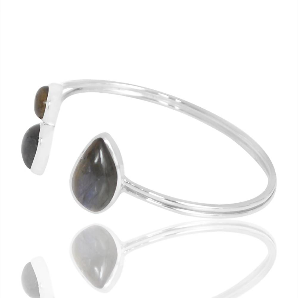 Bracelets Genuine Labradorite Gemstone 925 Silver Cuff Bangle Black Rainbow Adjustable Bracelet Light Weight Handmade