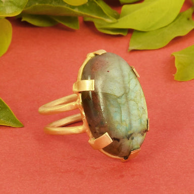 rings Genuine Labradorite Gemstone Prong Set Women Fashion Ring - by Bhagat Jewels