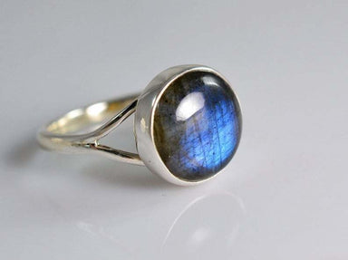 Ring Genuine Labradorite Silver Statement Boho Raw Gemstone - by GIRIVAR CREATIONS