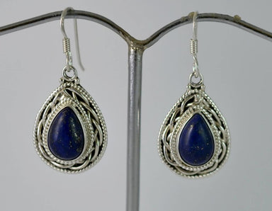 Earrings Genuine Lapis Lazuli 925 Solid Sterling Silver Handmade Dangle - Title by Navya Craft