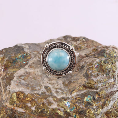 Rings Genuine Larimar Ring,925 Sterling Silver Ring,Gemstone Ring,Larimar Boho Ring,Handmade Ring