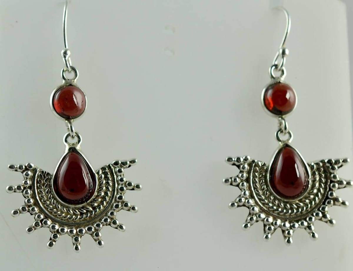 Earrings Genuine Natural Garnet designer Dangle Drop Handmade 925 Solid Sterling Silver