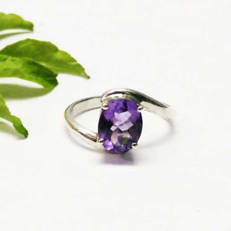 925 Sterling Silver Round Faceted Purple Amethyst Gemstone Silver Jewelry Natural Purple Amethyst Gemstone Silver Ring Handmade Jewelry