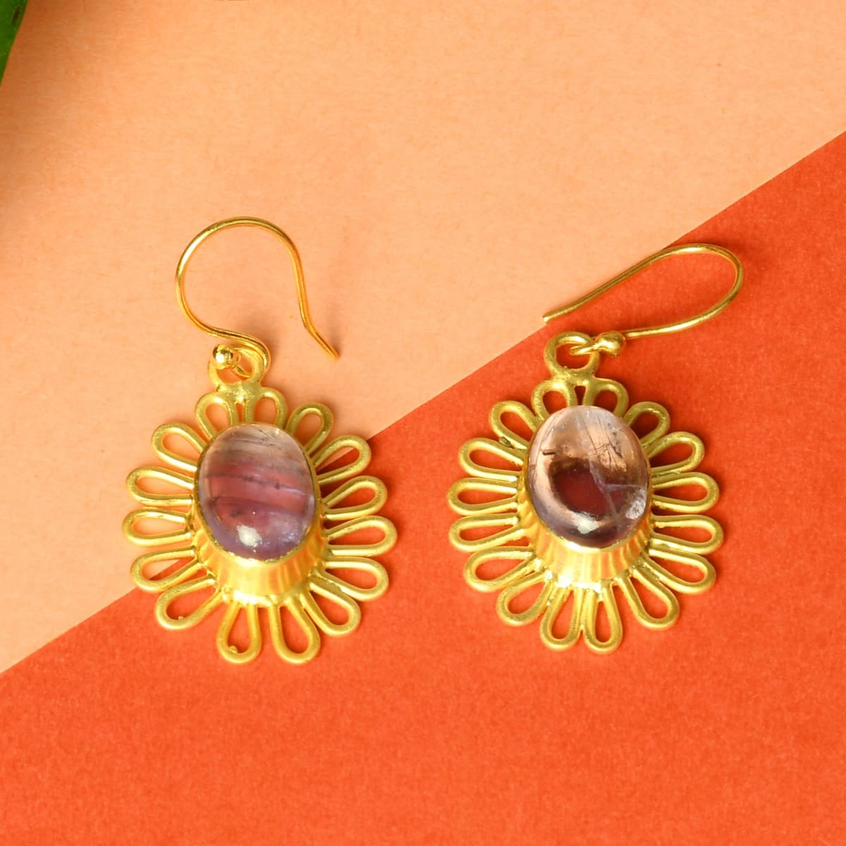 Genuine Purple Amethyst Birthstone 18K Matte Gold Plated Trendy Dangle Earrings - by Bhagat Jewels