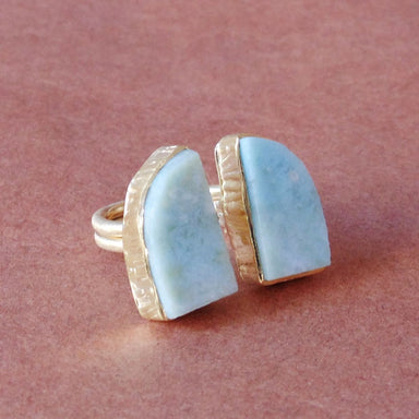 Genuine Raw Larimar Bezel Set Gemstone Friendship Ring - by Bhagat Jewels