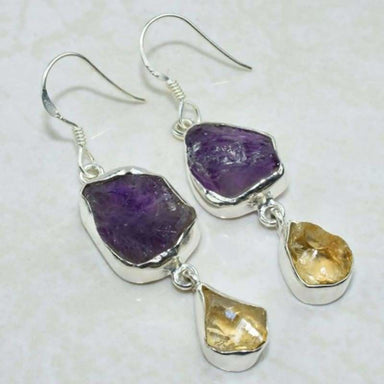 Genuine Silver Plated Natural Amethyst And Citrine Gemstone Long Dangle Earrings For Women - Earrings
