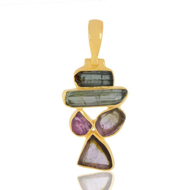 Necklaces Genuine Tourmaline Gemstone Gold plating Sterling Silver Pendant.