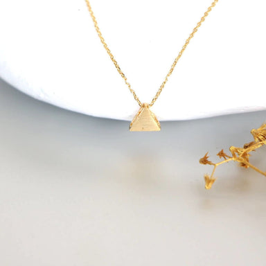 necklaces Geometric Gold Charm Necklace dipped triangle Minimalist Delicate Chain Gift MN100 - by Silver Soul Charms
