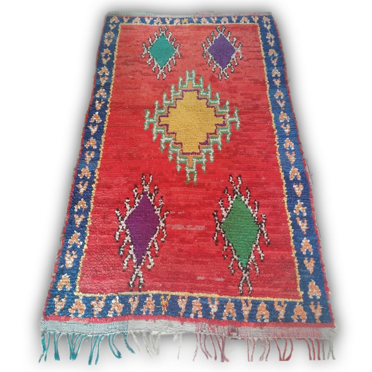 Geometric Vintage Moroccan Boucherouite Rug - by Home