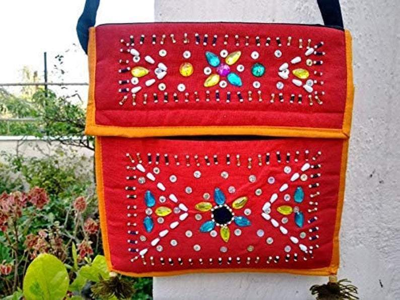 Shoulder Bags Gifts for Friends Red Bag Fabric bags with a strap Women ladies Pockets,FREE SHIPPING - by COLORS OF INDIA STUDIO