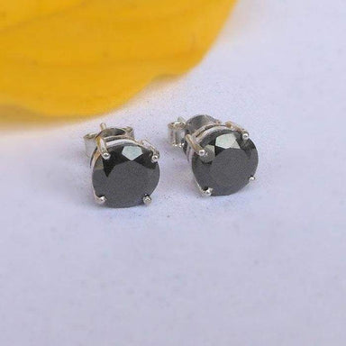 Earrings Glitzy Rocks Sterling Silver 5mm Black Spinel Stud Round Gemstone Studs Tiny