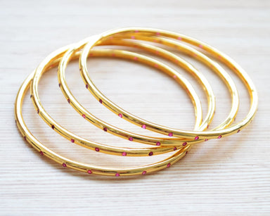 bracelets Gold Bangles Set Simple Indian Jewelry Stackable Ruby Bangle Bracelets for Women - by Pretty Ponytails