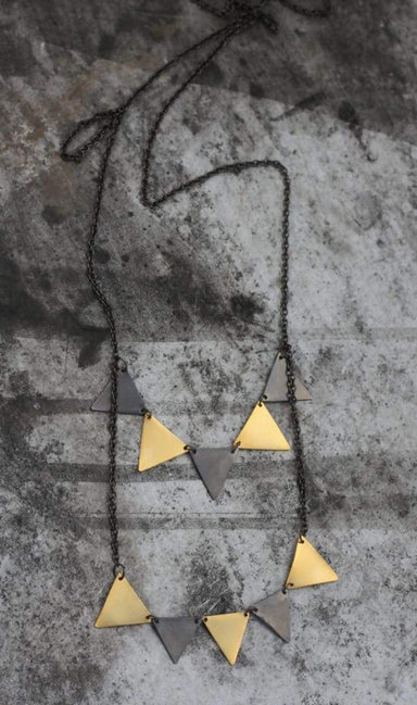 Necklaces gold and black triangles geometric strand long necklace party girl happy high fashion perfect gift for her mobil