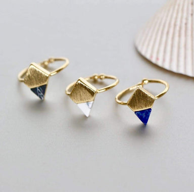 Rings Gold Dipped Ring/Toe Ring Set Marble Stone Rhombus Geometric Jewelry Modern Unisex Christmas Gift (SR56/57/58