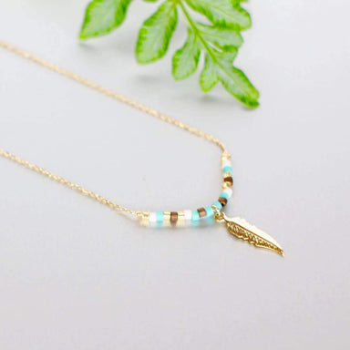 Necklaces Gold Feather Necklace Dipped Charm Minimalist Dainty Chain Gift Gypsy (SN77)