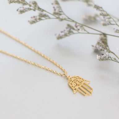 necklaces Gold Hamsa Charm Necklace Dipped Minimalist Delicate Chain Gift MN102 - by Silver Soul Charms