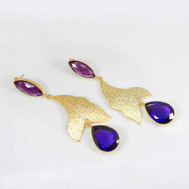 Earrings Gold Plated Amethyst Hydro Designer Charms Bezel Studded Dangle
