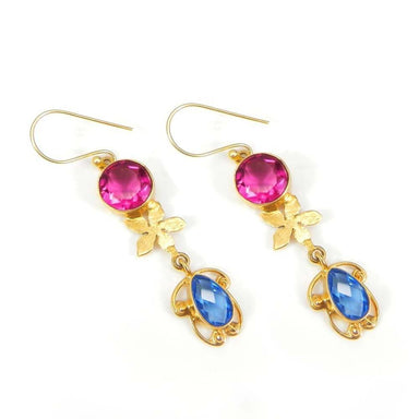 Earrings Gold Plated Brass Pink Tourmaline and London Blue Topaz Designer Unique Dangle