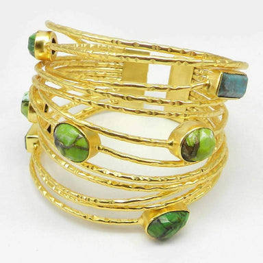 Bracelets Gold Plated Green Mohave Turquoise Hammered Adjustable Bangle Jewelry