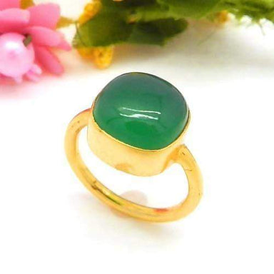 Rings Gold Plated Green Onyx Gemstone Unique Bezel Set Handmade Ring Jewelry