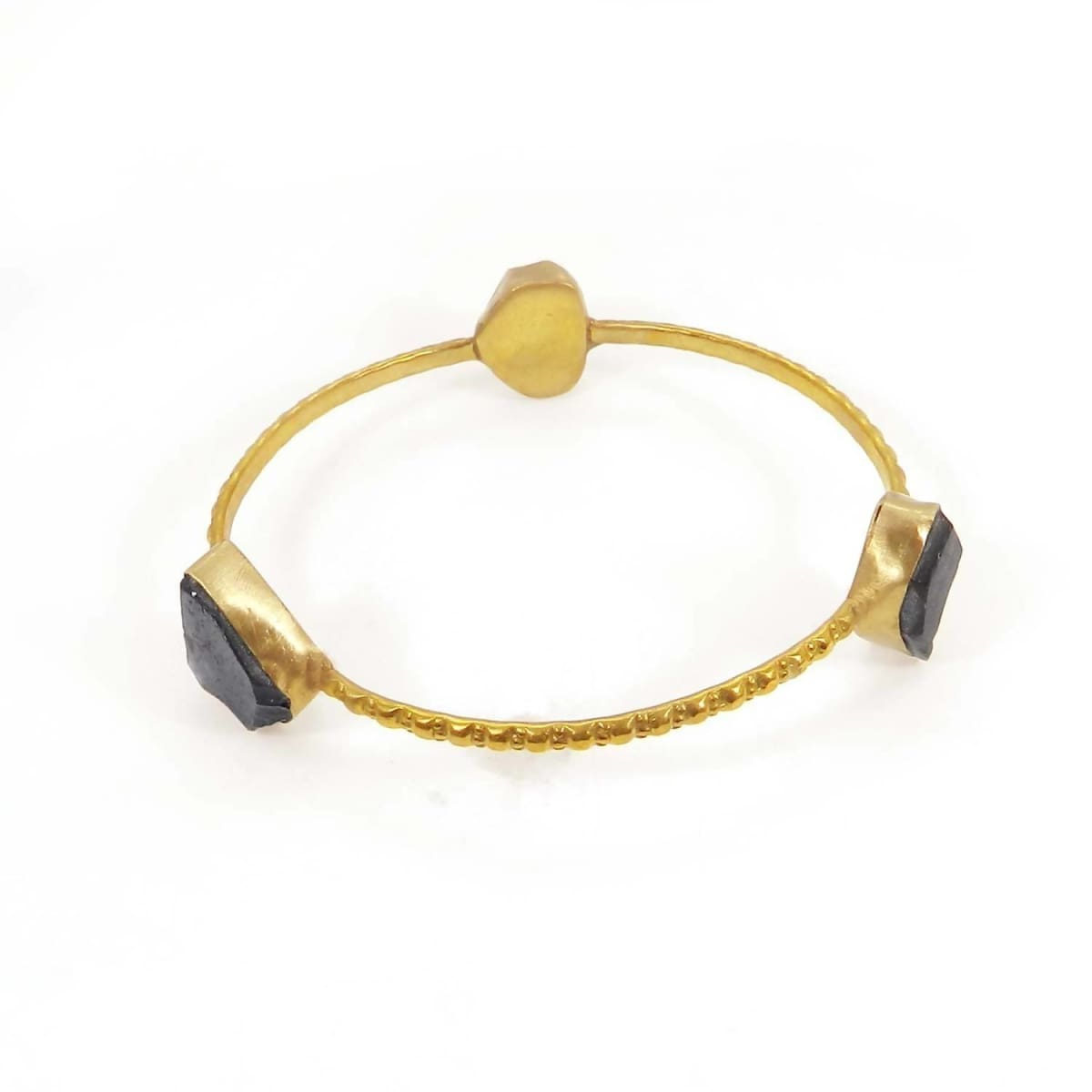 Bracelets Gold Plated Smoky Quartz Rough Hammered Band Bezel Bracelet Jewelry