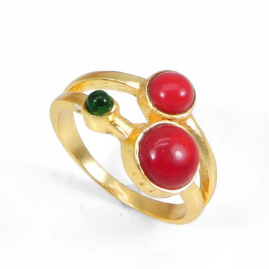 Rings Gold Plated Synthetic Coral and Green Hydro Designer Bezel Set Ring