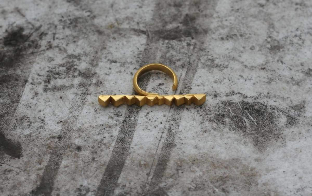 Rings gold two finger ring black triangles row big stackable geometric adjustable perfect for any size to go out party