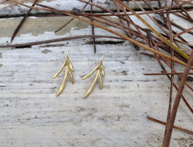Earrings golden leafs post earrings tree leaves natural organic art jewelry perfect moms gift anniversary present real leave hand made,