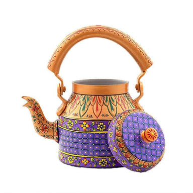 Painted Teapots Golden Purple Hand Tea Kettle